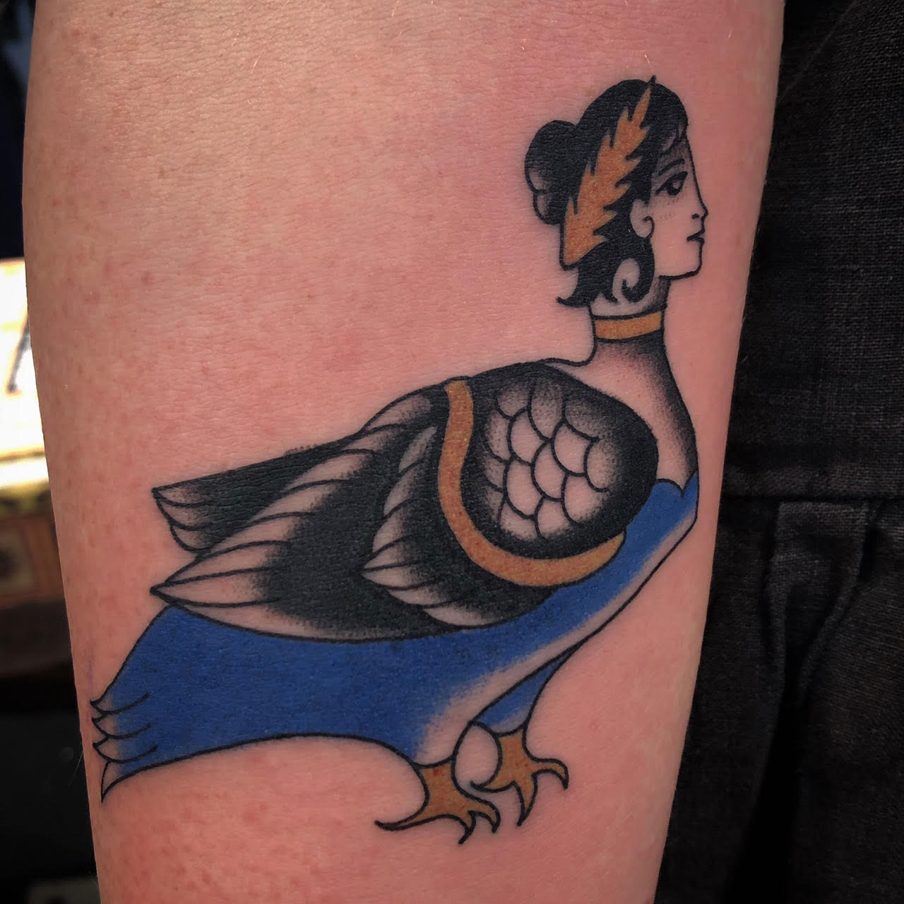 pigeon bird lady hybrid tattoo tattooed in a european traditional style