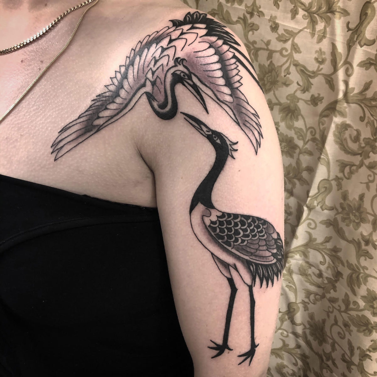 japanese herons traditional tattoo on shoulder