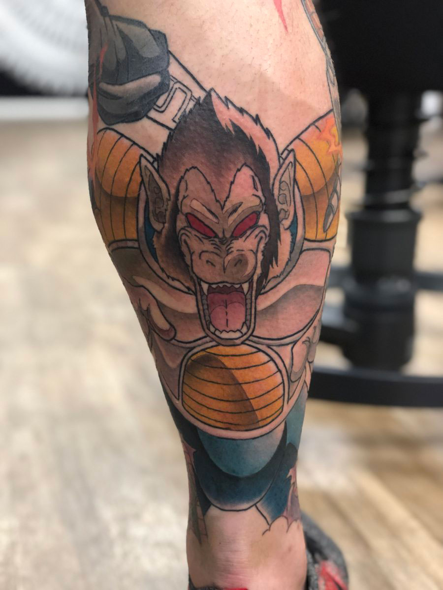 Dragonball Z tattoo full colour lower leg sleeve showing Oozaru Vegeta
