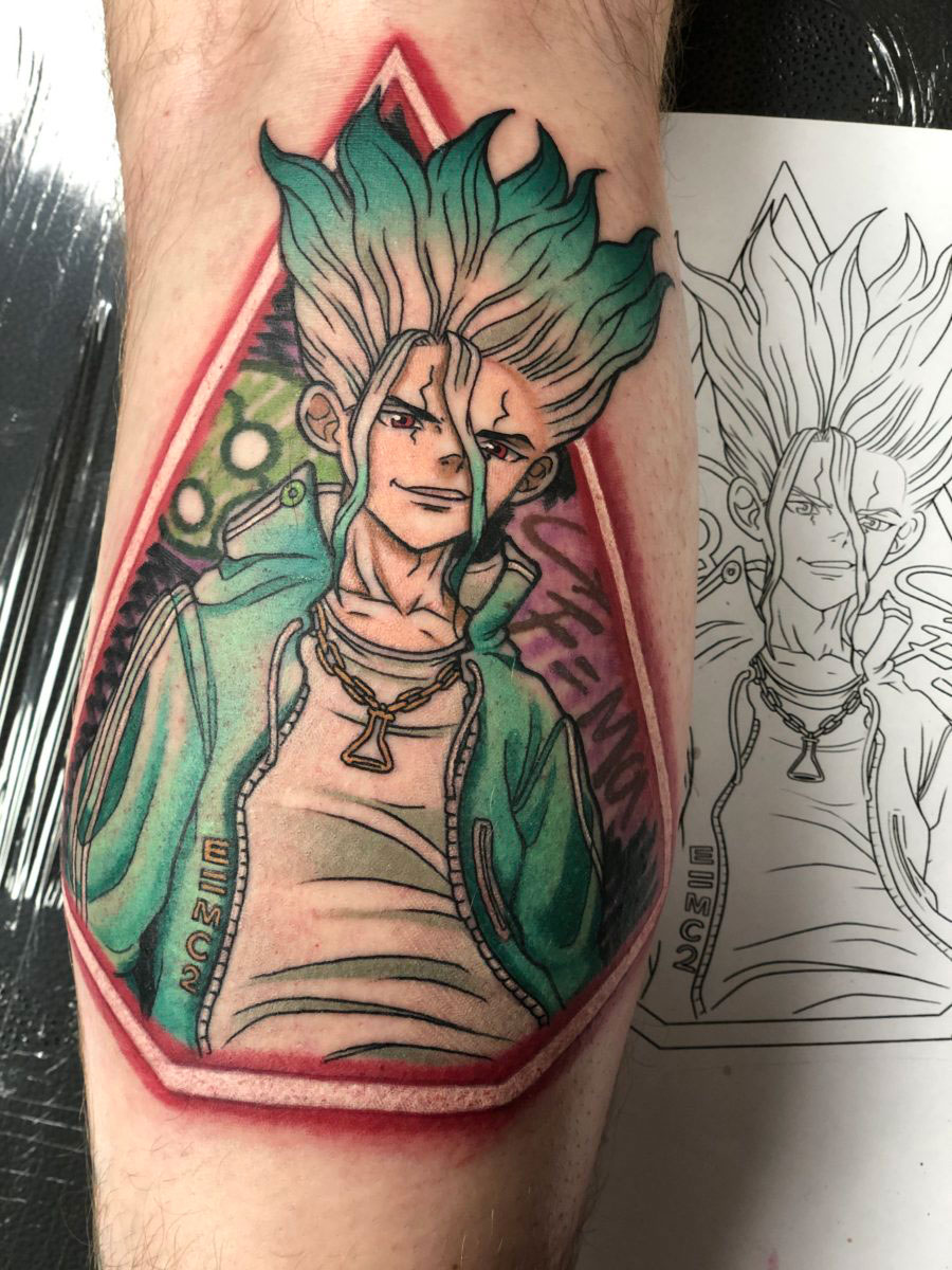 hype Street style Senku from the anime Dr Stone tattooed on the calf with neon light border and graffiti background