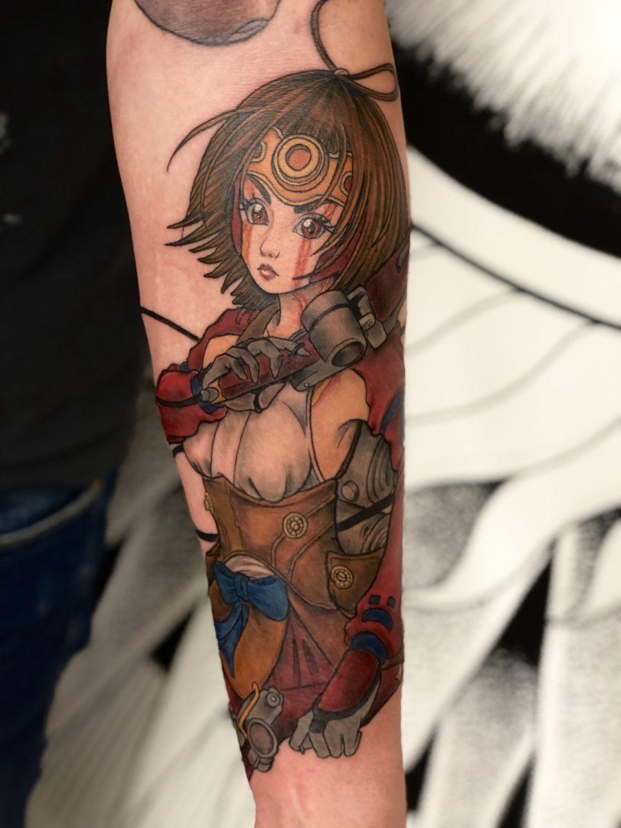 Neo traditional japanese anime inspired mumei otaku nerdy tattoo