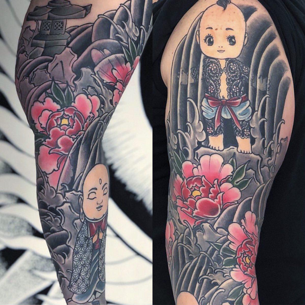 Japanese sleeve tattoo kewpie baby bodysuit peony flowers buddha tattoo