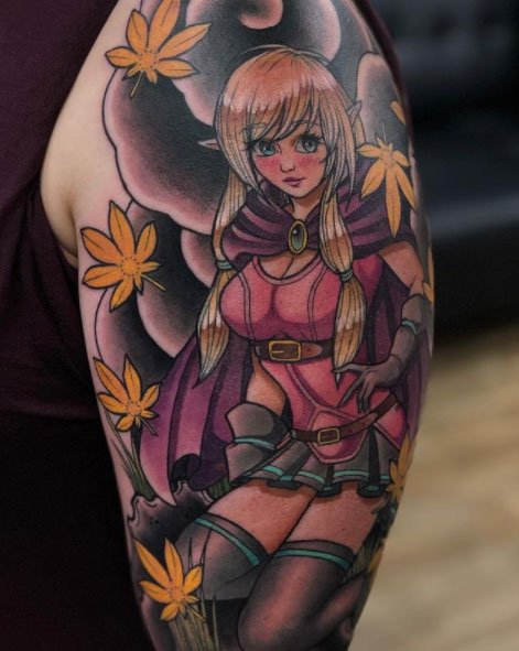 Original elf themed character inspired by pretty anime ladies, with falling maple leaves and Japanese background as a full colour half sleeve