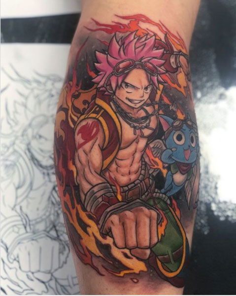 Anime tattoo of Natsu and Happy from Fairy Tail with flames around tattooed on the calf in colour