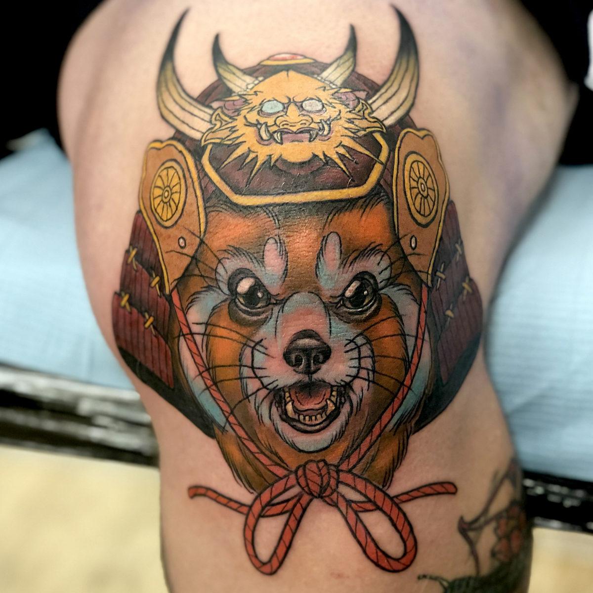 neo japanese red panda samurai knee tattoo